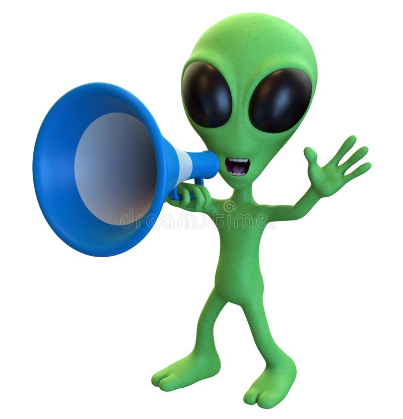 Green Cartoon Alien Yelling through a Megaphone. 3D rendering of a loud mouth cartoon alien yelling through a megaphone isolated on a white background vector illustration