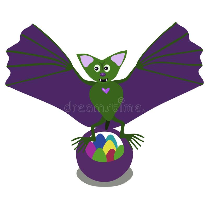Green cartoon bat with colorful Easter eggs royalty free stock photo