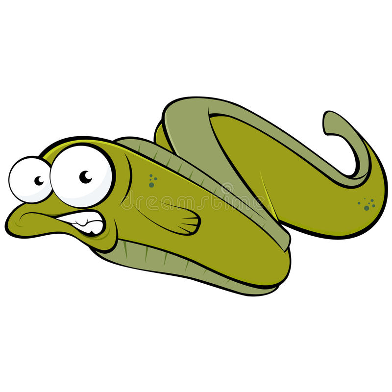 Green cartoon eel. Illustration of funny green cartoon eel with goggle eyes, isolated on white background vector illustration