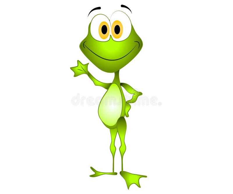 Green Cartoon Frog Waving stock illustration