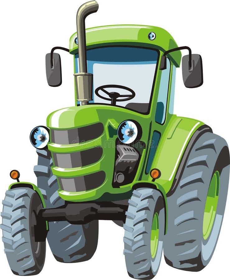 Green cartoon tractor royalty free illustration