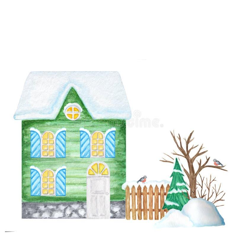 Green Cartoon Winter House avec clôtures en bois et couple d'oiseaux Bullfining, dérives de neige, sapin de Noël Vue avant photo stock