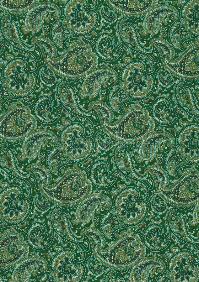 Green cashmere. Scanner of a textile with motives cashmere, typically Indian royalty free stock photos