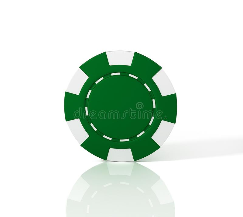 Green casino chip on white background. 3D Illustration. 3D Illustration stock illustration