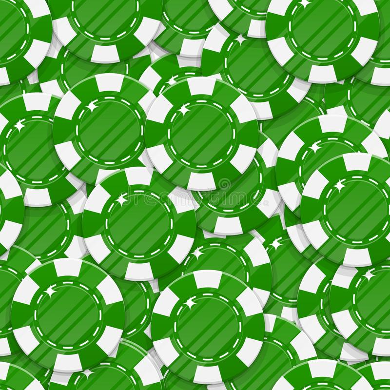 Green casino chips seamless pattern. Background of casino green chips as a pattern for designers and illustrators. Backdrop of green bets in the form of vector royalty free illustration