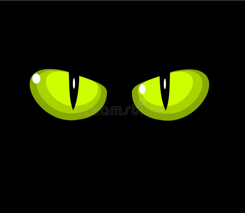 Green cat eyes vector illustration