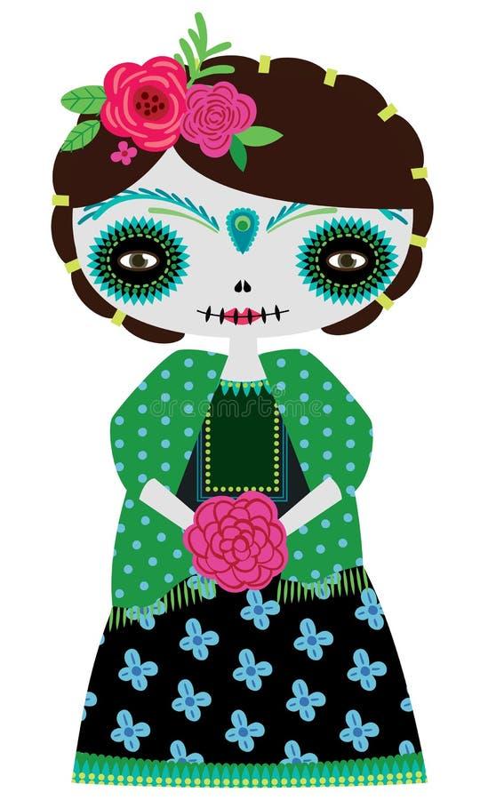 Green catrina doll stock illustration
