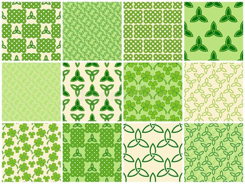 Green celtic style seamless patterns set stock illustration
