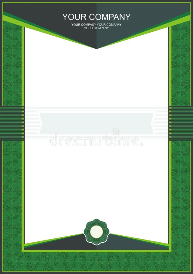 Green Certificate or diploma template frame - border royalty free illustration