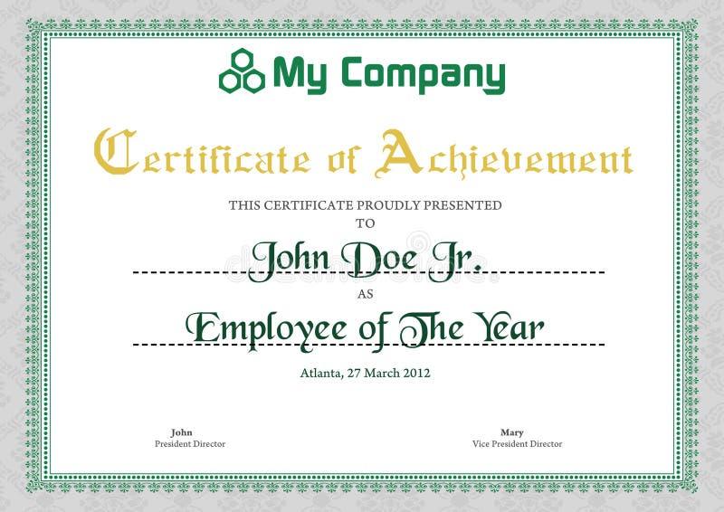 Green Certificate Template stock illustration