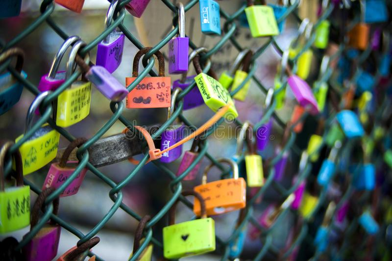 Green Chain-link Fence With Assorted-color Padlocks stock image