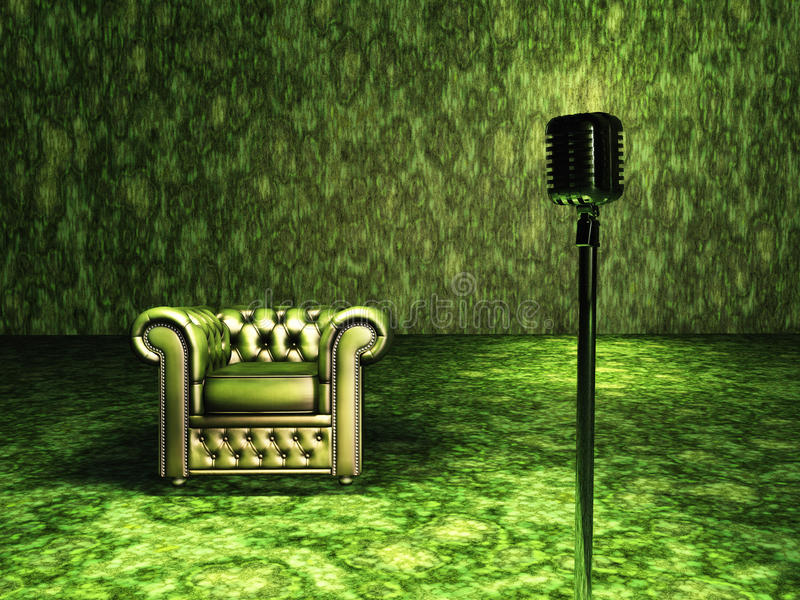 Green Chair with microphone vector illustration