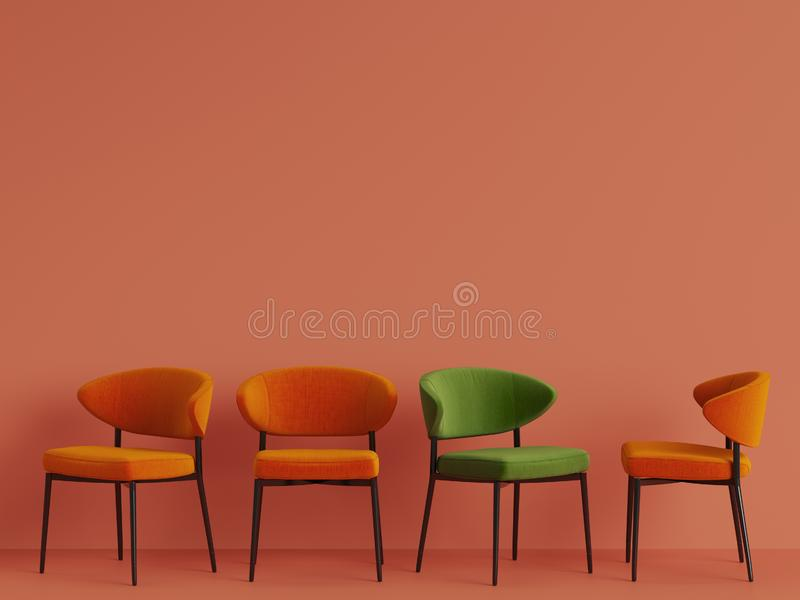 A green chair among orange chairs on orange pastel backgrond. Concept of minimalism. 3d rendering mock up stock illustration