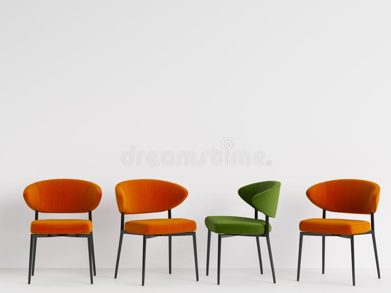 A green chair among orange chairs on white backgrond. Concept of minimalism. 3d rendering mock up stock illustration
