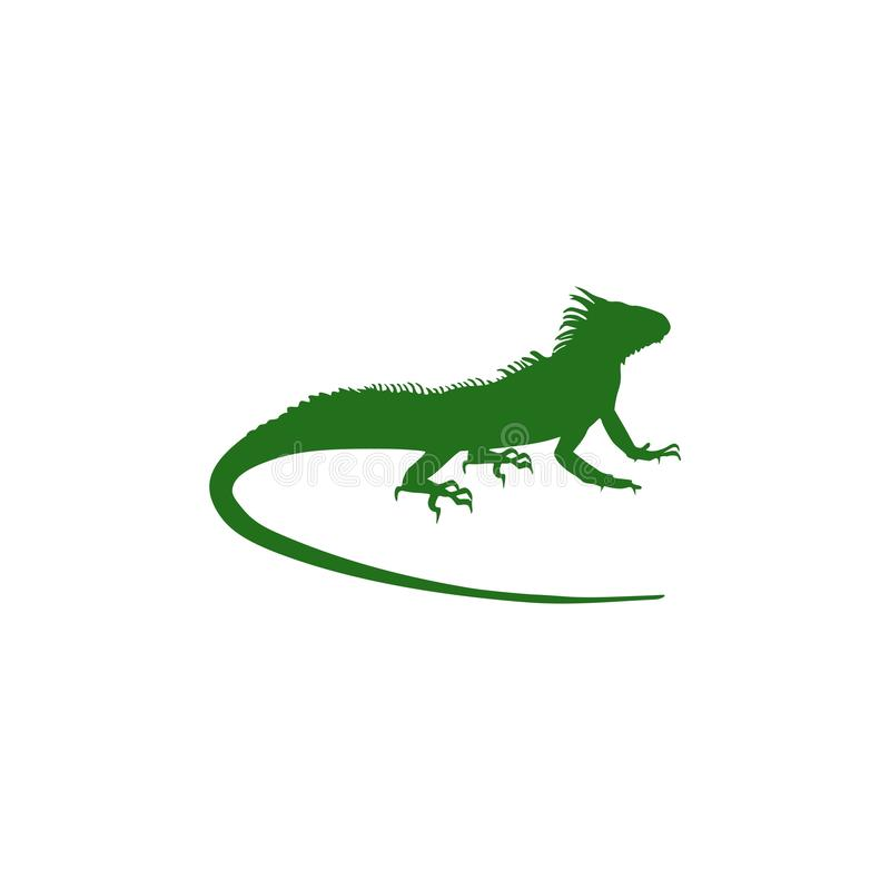 Green Chameleon silhouette isolated on white background royalty free illustration