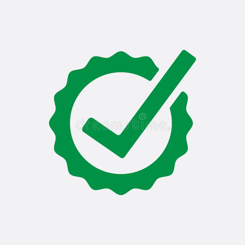 Green Check list button icon. Check mark in round sign. Vector illustration. stock illustration