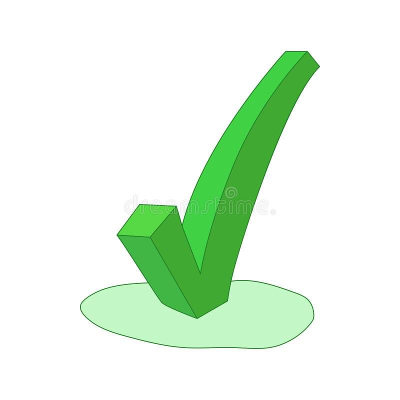Green check mark icon, cartoon style. Green check mark icon in cartoon style isolated on white background stock illustration