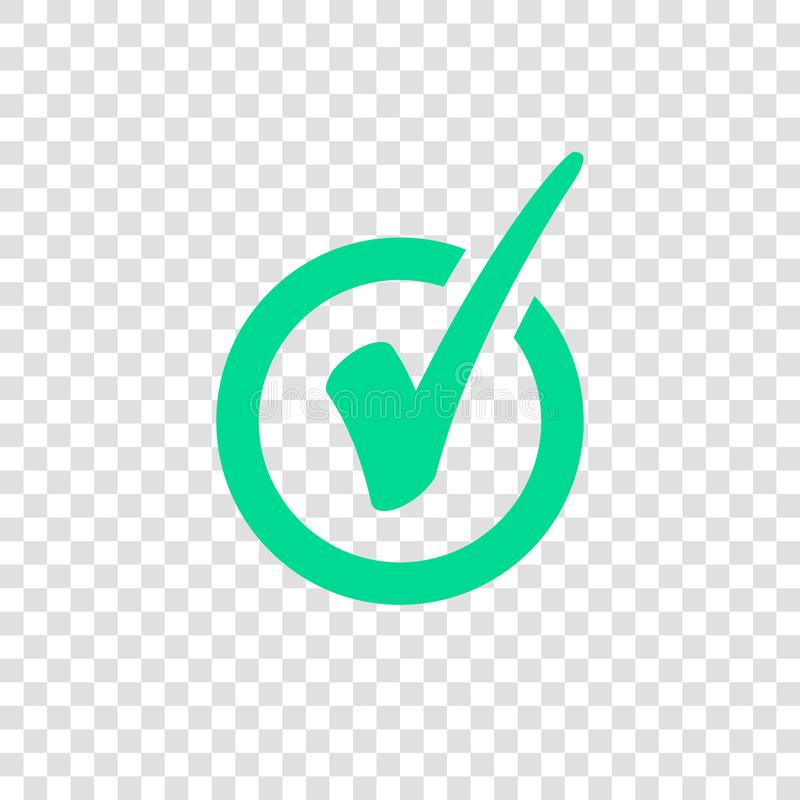 Green Check Mark Icon in Circle. Tick Symbol. On transparent background vector web icon royalty free illustration