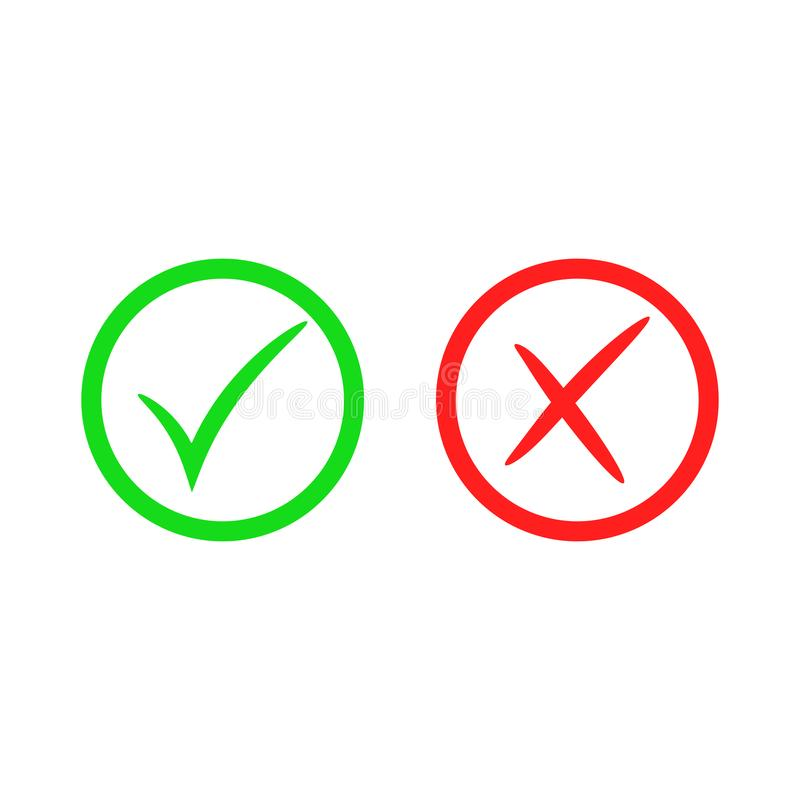 Green Check Mark Icon Red Cross Mark Vector Checkmark Button Tick