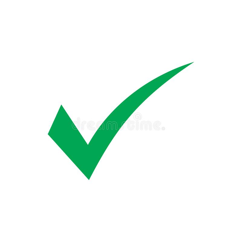 Green check mark icon. Tick symbol in green color, vector illustration. Green check mark icon. Tick symbol in green color. Vector illustration on white royalty free illustration