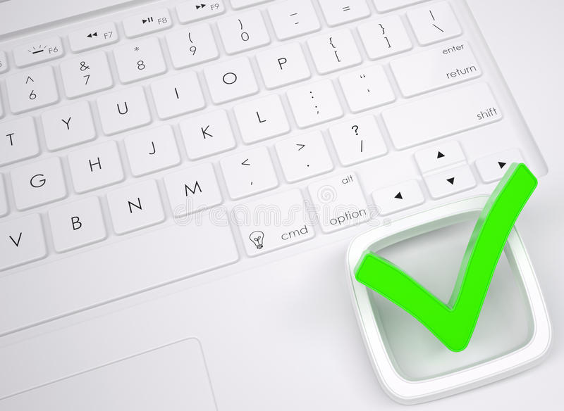 Green check mark on the keyboard stock illustration