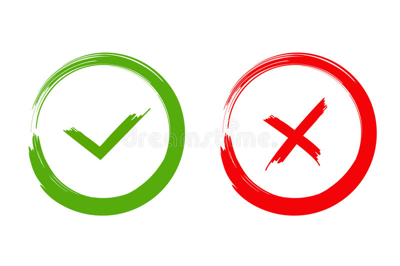 Green check mark OK and red X icons, isolated on white background. Green check mark OK and red X icons isolated on white background stock illustration
