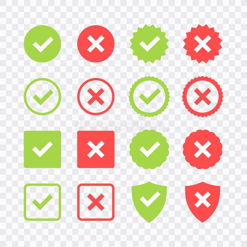 Green check mark and red cross icon set. Circle and square. Tick symbol in green color, vector illustration.  royalty free illustration