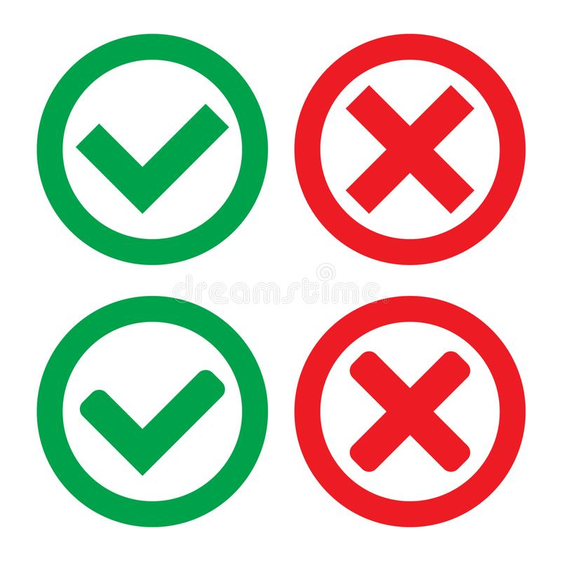 Green Check Mark and Red Cross in two variants square and rounded corners - Isolated Vector Illustration. Vector illustration on white background vector illustration