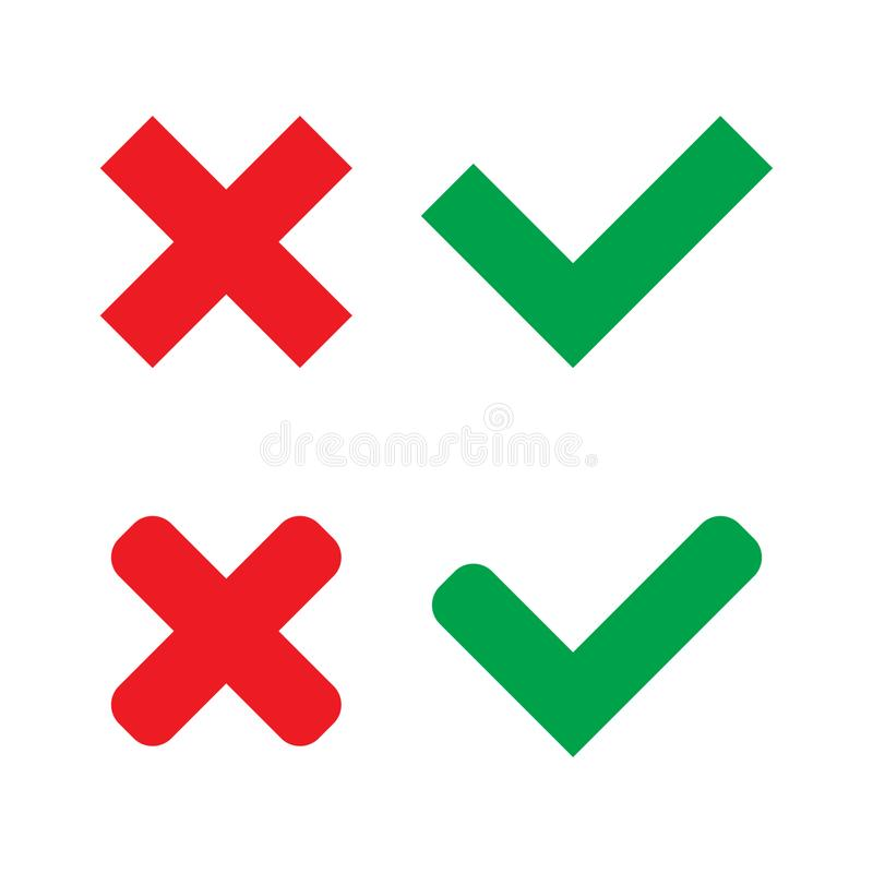 Green Check Mark and Red Cross in two variants square and rounded corners - Isolated Vector Illustration. On white background vector illustration