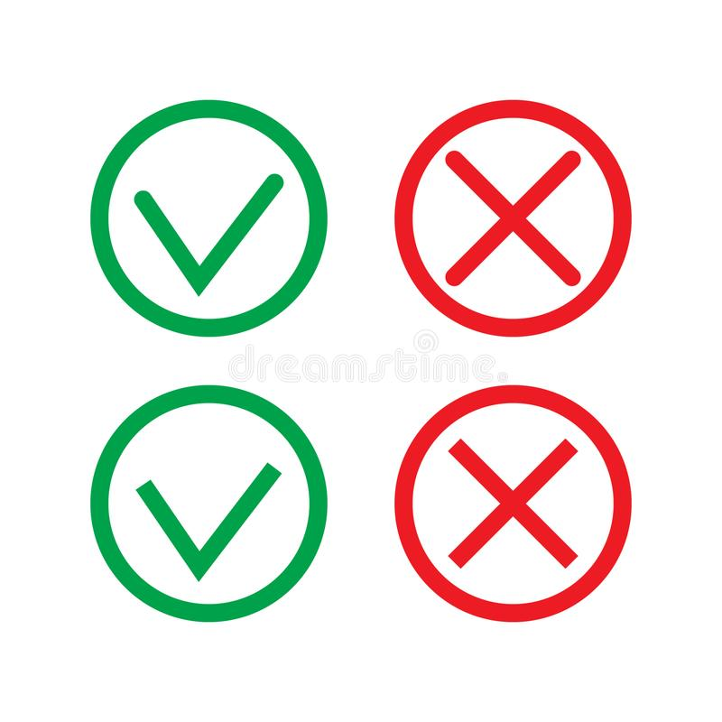 Green Check Mark and Red Cross in two variants square and rounded corners - thin line isolated vector il. Lustration. vector illustration on white background royalty free illustration