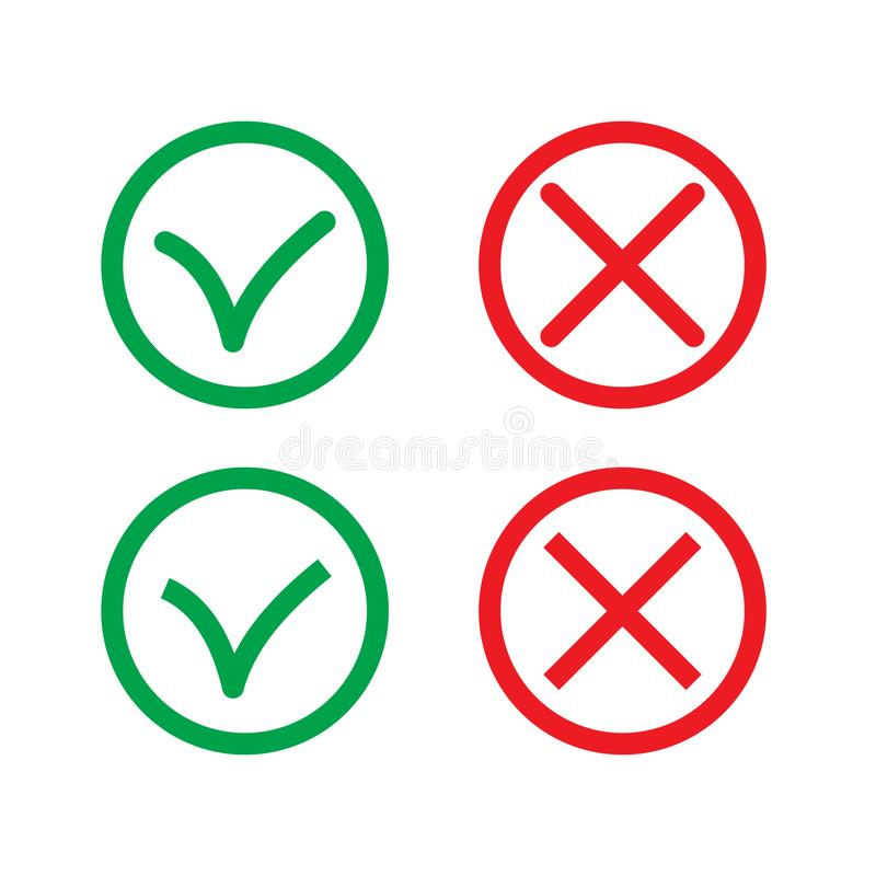 Green Check Mark and Red Cross in two variants square and rounded corners - thin line isolated vector illustration. Vector illustration on white background vector illustration