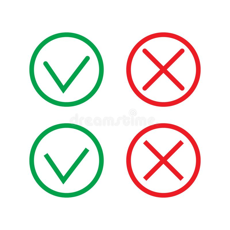 Green Check Mark and Red Cross in two variants square and rounded corners - thin line isolated vector illustration. Vector illustration on white background stock illustration