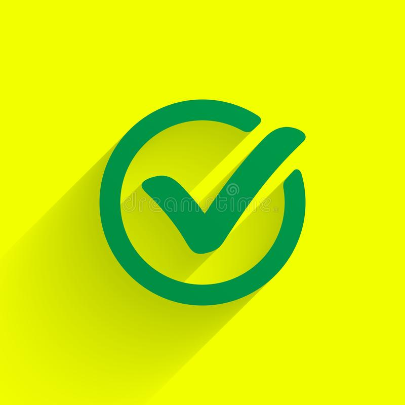 Green check mark. Tick symbol, icon, sign or web button. Vector. royalty free illustration