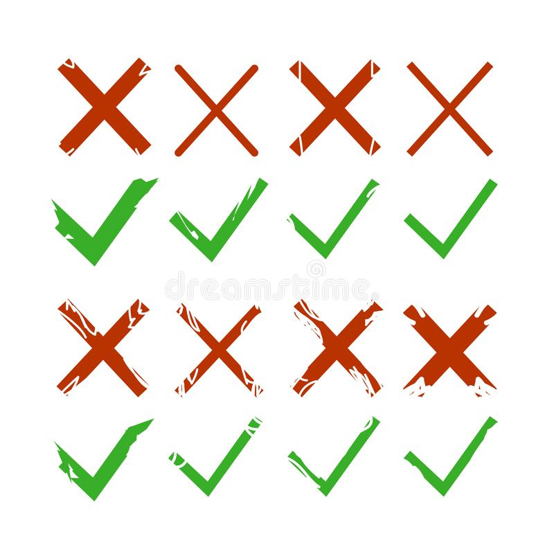 Green check, tick and red cross signs isolated on white background. Green checkmark OK and red X icons. Symbols YES and NO. Vector royalty free illustration