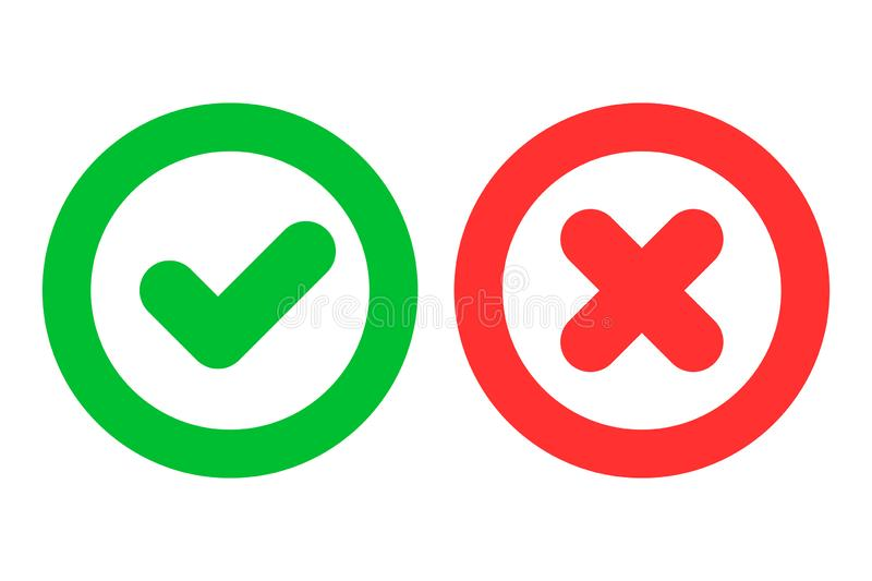 Green checkmark ok and red cross x icons as positive and negative symbols isolated on white background. Simple green checkmark ok and red cross x icons as stock illustration