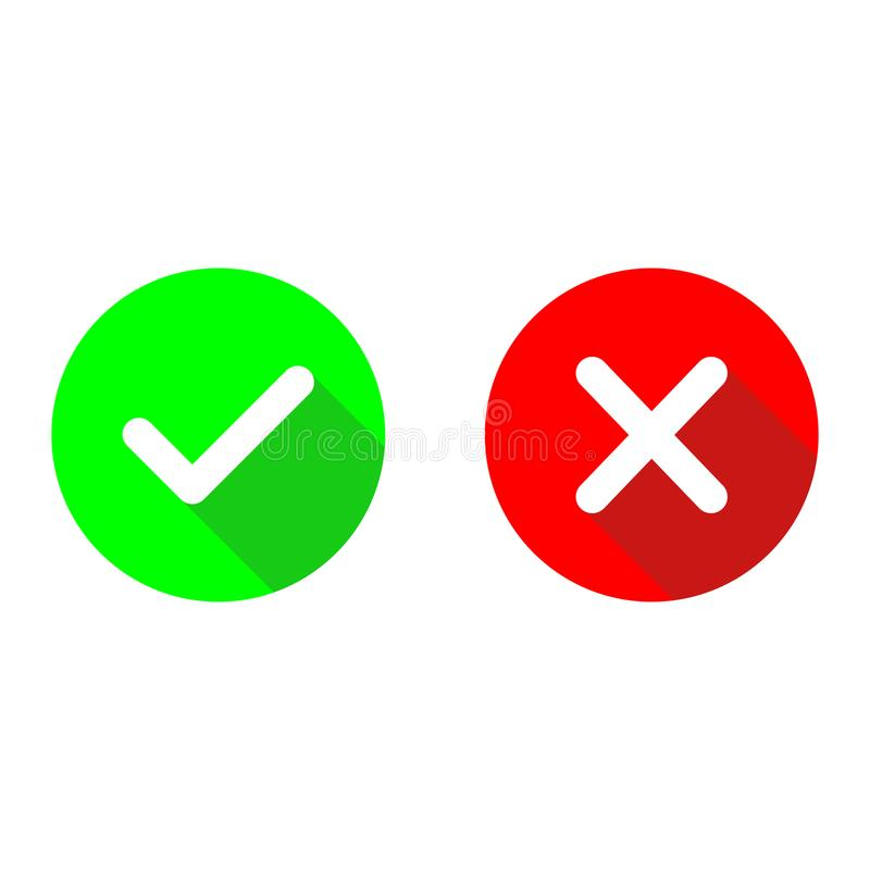 Green checkmark ok and red x flat vector icons.Circle symbols yes and no button for vote.Tick and cross signs with long shadow ill vector illustration