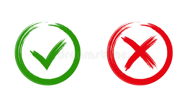 Green checkmark OK and red X icons, vector illustration