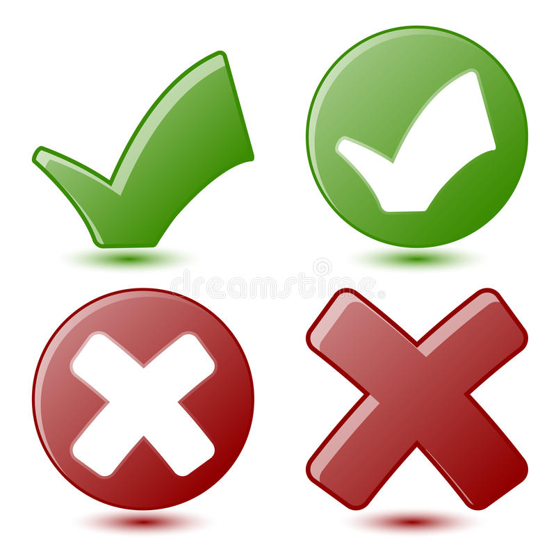 Green Checkmark and Red Cross Symbols royalty free illustration