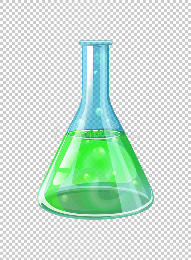 Green chemical in beaker. Illustration vector illustration