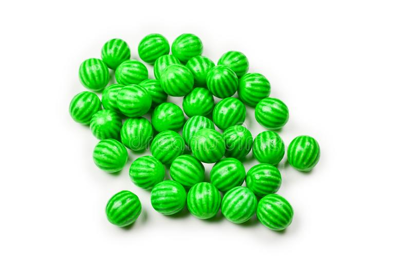Green chewing gum isolated on white background. Top view.  Top view royalty free stock image
