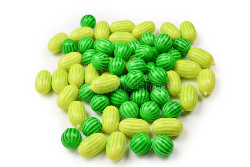Green chewing gum isolated on white background. Top view. Top view stock image