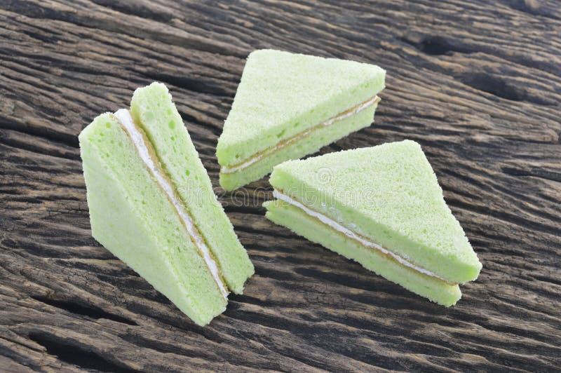 Green chiffon cake royalty free stock photography