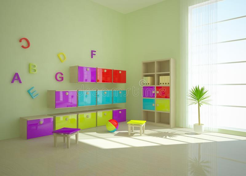 Download Green children interior stock illustration. Image of penthouse - 17307426