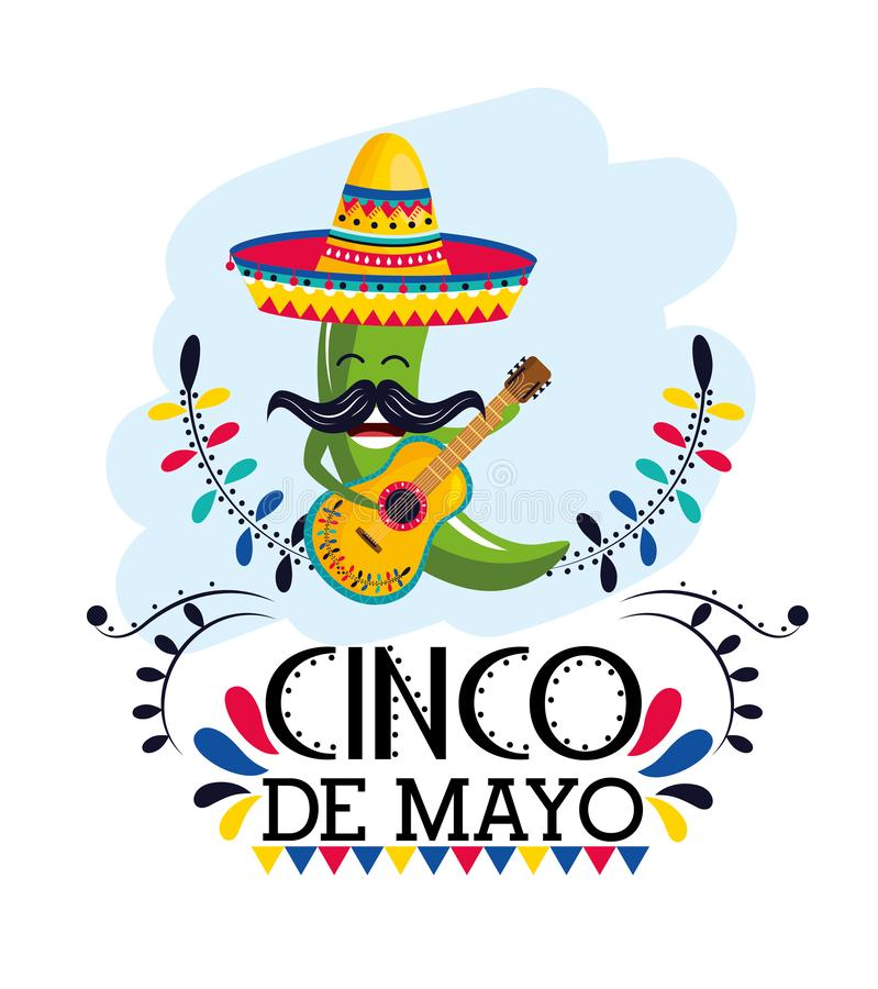 Green chili pepper with hat and guitar to mexican event. Vector illustration vector illustration