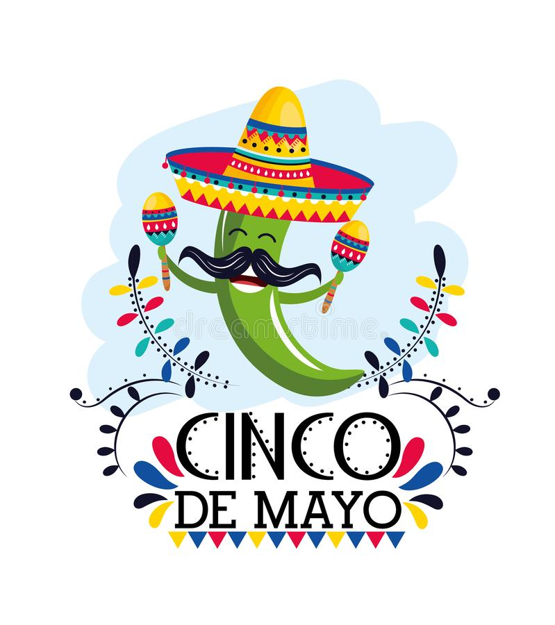 Green chili pepper with maracas and hat to mexican event. Vector illustration stock illustration