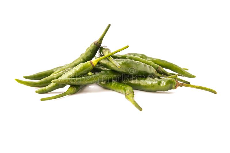 Green chili peppers royalty free stock image