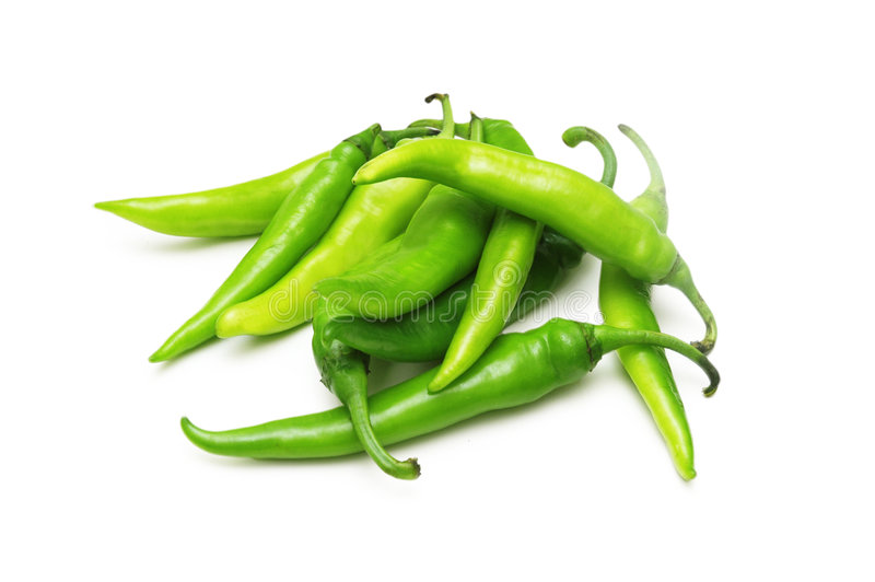 Green chili peppers isolated