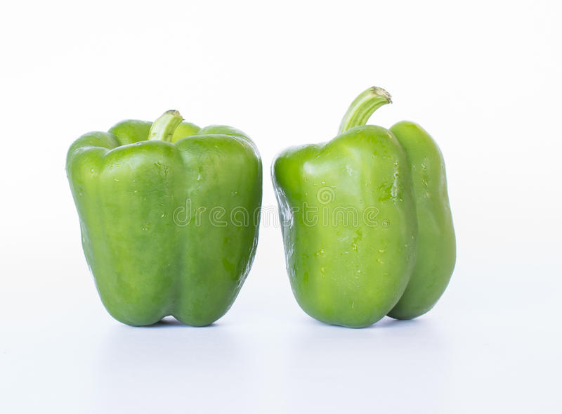 Green chili. On white background royalty free stock photo