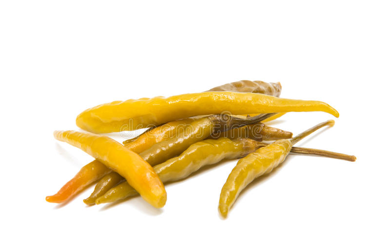 Green chilli pepper pickled isolated royalty free stock photos
