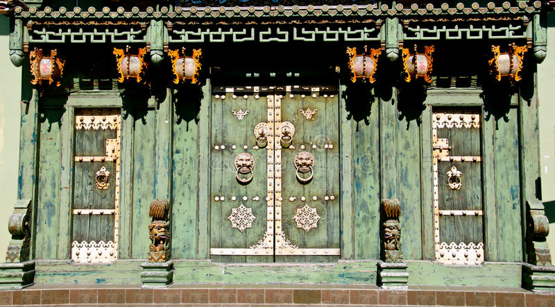 Green Chinese Old Door Royalty Free Stock Photo
